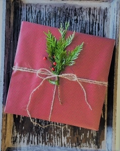 gift with fresh greenery