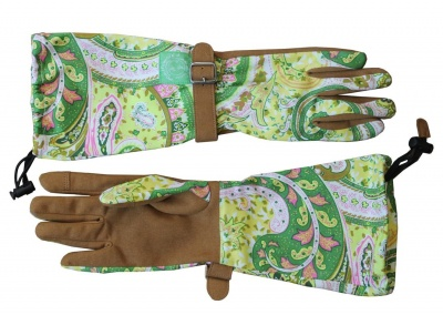 green paisley garden gloves
